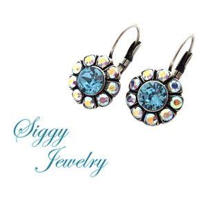 Swarovski® Crystal Aqua and AB Flower Earrings